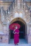 Novice monk in bagan Myanmar. BAGAN , MYANMAR - SEP 05 2017: Novice monk in bagan Myanmar on September 05 2017 , The ruins of Bagan has 2,200 temples and pagodas royalty free stock photos