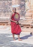 Novice monk in bagan Myanmar. BAGAN , MYANMAR - SEP 05 2017: Novice monk in bagan Myanmar on September 05 2017 , The ruins of Bagan has 2,200 temples and pagodas royalty free stock photo