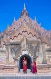 Novice monks in bagan Myanmar. BAGAN , MYANMAR - SEP 05 2017: Novice monks in bagan Myanmar on September 05 2017 , The ruins of Bagan has 2,200 temples and stock photos