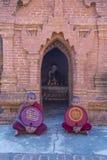 Novice monks in bagan Myanmar. BAGAN , MYANMAR - SEP 05 2017: Novice monks in bagan Myanmar on September 05 2017 , The ruins of Bagan has 2,200 temples and Royalty Free Stock Photography