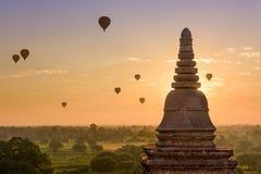Bagan Myanmar Temples and Balloons Royalty Free Stock Image