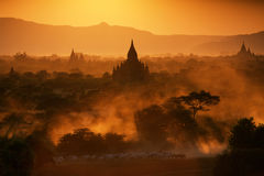 Bagan no por do sol Imagem de Stock Royalty Free