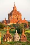 Bagan no por do sol, Myanmar. Foto de Stock Royalty Free