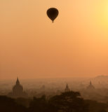 Bagan no por do sol, Myanmar. Fotografia de Stock