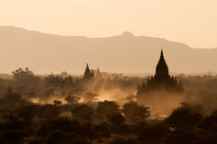Bagan Pagodas. View from the Pyathada Pagoda during sunset in Bagan, Myanmar Stock Images
