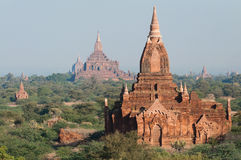 Bagan Pagodas. View from the Damayazaka Pagoda to the Sulamani and Htilo Minlo Temples Royalty Free Stock Photos
