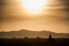 Bagan Pagodas. View from the Pyathada Pagoda during sunset in Bagan, Myanmar Stock Photos