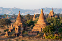 Bagan Pagodas. View from the Shwe Sandaw Pagoda during sunset in Bagan, Myanmar Royalty Free Stock Photos