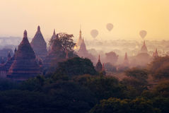 Rising balloons over the Bagan pagodas, Myanmar Stock Images