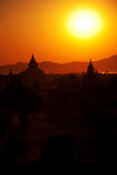 Bagan pagodas at sunrise Royalty Free Stock Image