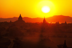 Bagan pagodas at sunrise Royalty Free Stock Photography