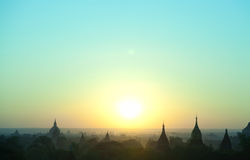 Bagan pagodas at sunrise Royalty Free Stock Photo