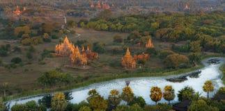 Bagan Pagodas tijdens zonsopgang, Myanmar stock fotografie
