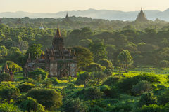 Bagan-Pagoden und Tempel bei Sonnenuntergang, alte Stadt Bagan, Myanmar Stockbilder