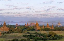 Bagan pagody podczas wschodu słońca, Myanmar Fotografia Stock