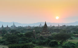 Bagan plains at sunset, Myanmar Royalty Free Stock Image