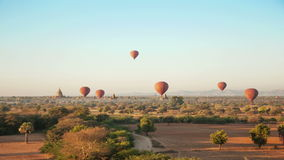 Bagan Sunrise Baloons Time Lapse stock footage