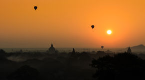 Bagan at sunrise , Myanmar Stock Photos
