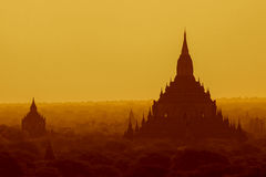 Bagan sunrise. Sunrise over ancient temples in Bagan, Myanmar Royalty Free Stock Photography
