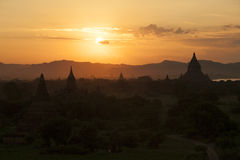 Bagan. Sunset at Bagan Myanmar. Bagan is an ancient city located in the Mandalay Region of Burma. From the 9th to 13th centuries, the city was the capital of the Royalty Free Stock Image