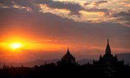 Bagan at Sunset, Myanmar. Stock Images