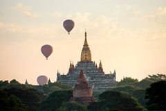 Bagan at Sunset, Myanmar. Stock Images