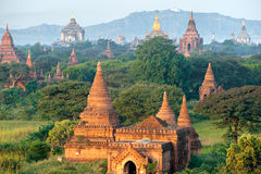 Bagan at Sunset, Myanmar. Stock Photos