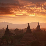 Bagan. At sunset in Myanmar Stock Photos