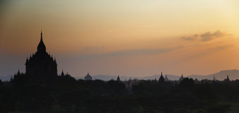 Bagan at sunset in Myanmar Stock Photos
