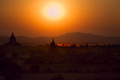 Bagan at sunset in Myanmar Royalty Free Stock Image