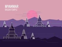 Bagan Temple bei Sonnenaufgang Bestimmungsortszene von Myanmar Lizenzfreie Stockbilder