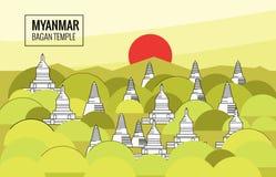 Bagan Temple bei Sonnenaufgang Bestimmungsortszene von Myanmar Lizenzfreies Stockbild