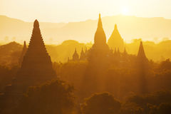 Bagan temple during golden hour Royalty Free Stock Photos