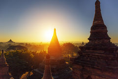 Bagan temple during golden hour Royalty Free Stock Photo
