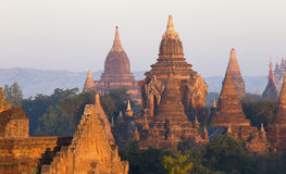 Bagan temple during golden hour Royalty Free Stock Images