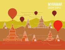 Bagan Temple mit Heißluftballon Bestimmungsortszene von Myanmar Lizenzfreie Stockfotografie