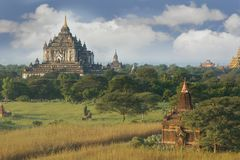 Bagan temples on sky background Stock Photo