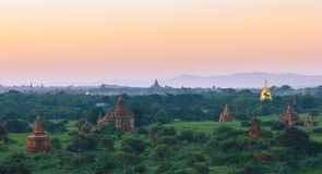 Bagan temples, stupas and pagodas. In Myanmar during morning sunrise Royalty Free Stock Images