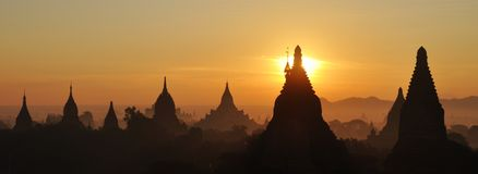 Bagan temples at sunrise in Myanmar Royalty Free Stock Photos