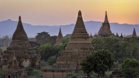 Bagan Temples sunset 1. Multiple ancient stupas at Bagan in Burma in late afternoon royalty free stock photos