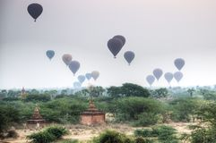 Bagan view with balloons in Myanmar