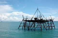 Bagang house. Is a house in the middle of the ocean made by Indonesian fishermen to catch fish at night Stock Photos