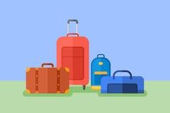 Bagażowego mieszkanie stylu horyzontalny sztandar Podróży torba, walizka, bagaż skrzynka Zdjęcie Stock