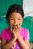 Bagarchhap village, Nepal - 24th of April, 2015 - unidentified nepalese girl in Nepal, Annapurna circuit trek Stock Image