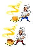 Bagare med en släntra av bröd Arkivbild