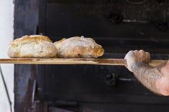 Bagare som bakar nytt handgjort bröd i bagerit Royaltyfri Foto