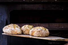 Bagare som bakar nytt handgjort bröd i bagerit arkivbild