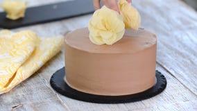 BagarekockUsing White Chocolate blommor som dekorerar chokladkakan arkivfilmer