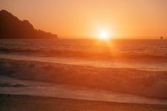 Bagarestrand på solnedgången Arkivbild