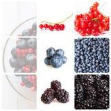 Bagas da mistura da colagem Fundo da fruta Foto de Stock Royalty Free